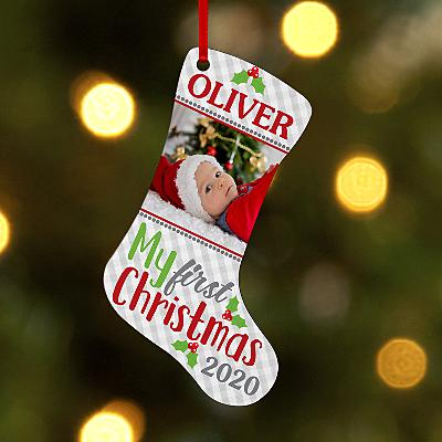 Baby's First Christmas Photo Stocking Bauble