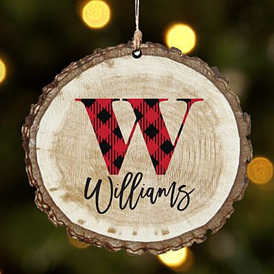 Buffalo Plaid Initial and Name Rustic Wood Ornament