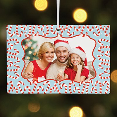 Candy Cane Border Photo Rectangle Ornament