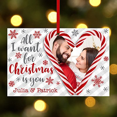 Candy Cane Couple Photo Rectangle Ornament