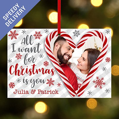 Candy Cane Couple Photo Rectangle Bauble