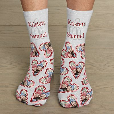 Candy Cane Hearts Photo Socks