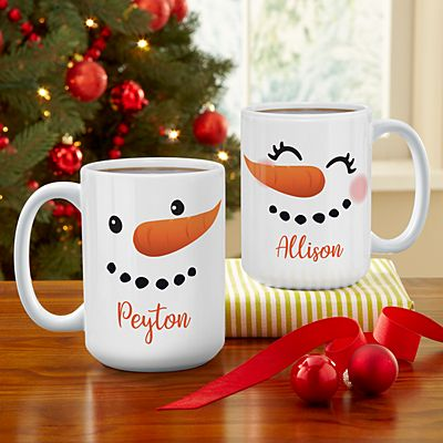 Cheery Couple Snowman 15oz Mug Set
