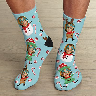 Christmas Faces Photo Socks