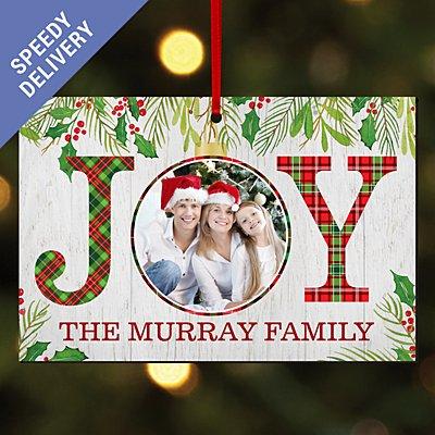 Christmas Joy Photo Rectangle Bauble