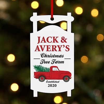 Christmas Tree Farm Sled Ornament