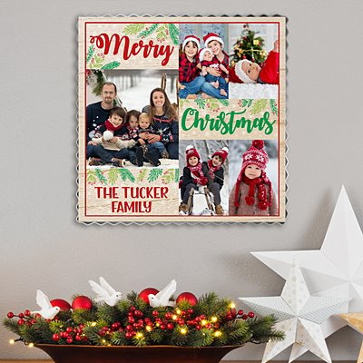 Christmas Wishes Photo  Metal Edge Wood Wall Art