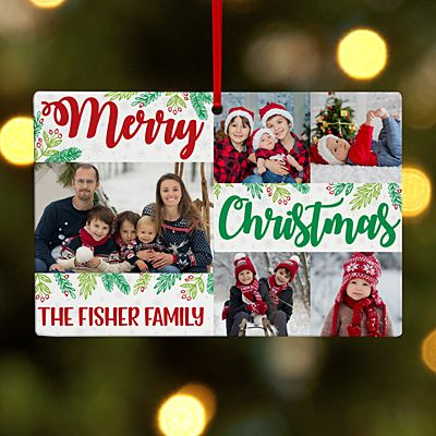 Christmas Wishes Photo Collage Rectangle Ornament