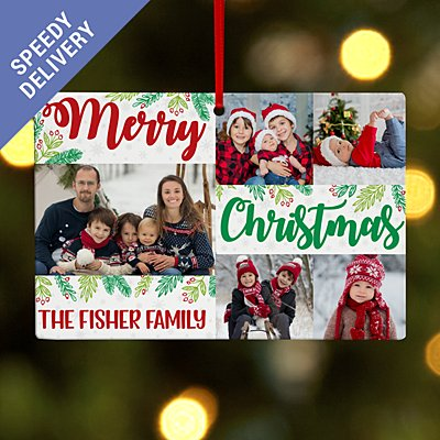Christmas Wishes Photo Collage Rectangle Bauble