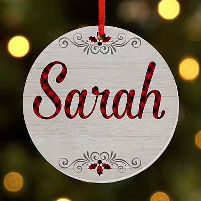 Classic Plaid Name Round Ornament