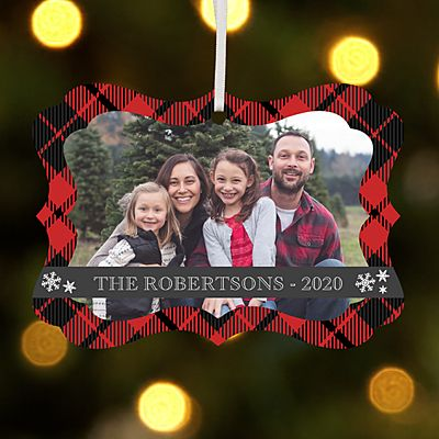 Cozy Christmas Photo with Message Scroll Ornament