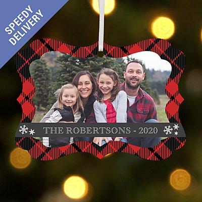 Cozy Christmas Photo with Message Scroll Bauble