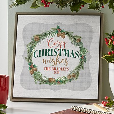 Cozy Christmas Wishes Shimmer Wood Wall Art