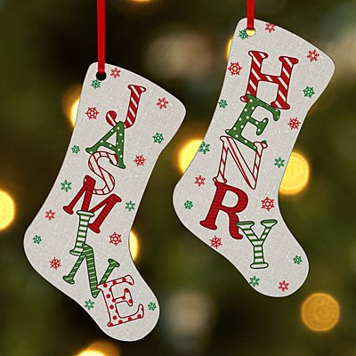 Festive Name Stocking Ornament