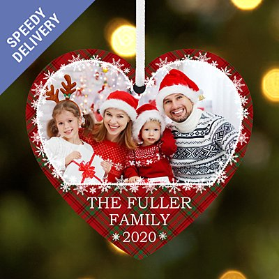 Full of Love Photo with Message Heart Bauble