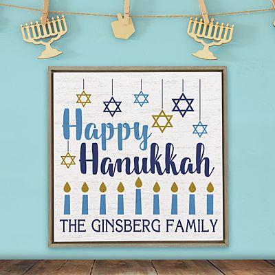 Happy Hanukkah Shimmer Wood Wall Art