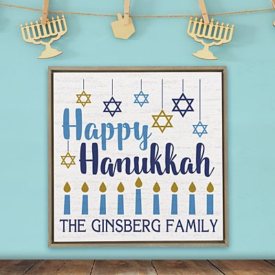 Happy Hanukkah Shimmer Wood Wall Art