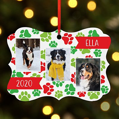 Happy Pawlidays Photo Scroll Ornament