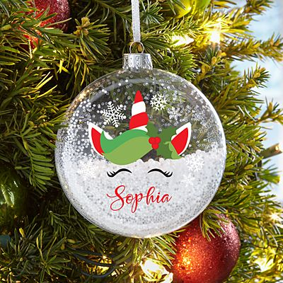Holiday Unicorn Glitter Glass Ornament