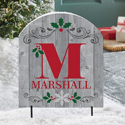 Holly Initial Wooden Outdoor Sign