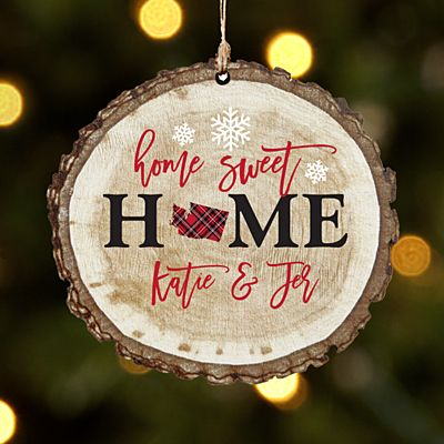 Home State Rustic Wood Ornament