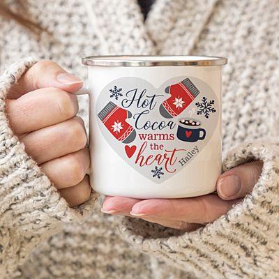 Hot Cocoa Warms the Heart Metal Enamel Mug