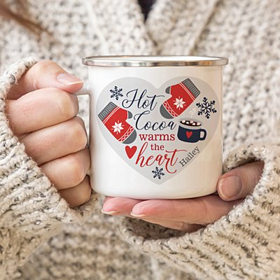 Hot Cocoa Warms the Heart Metal Enamel Mug