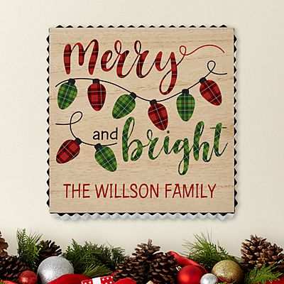Merry and Bright Metal Edge Wood Wall Art