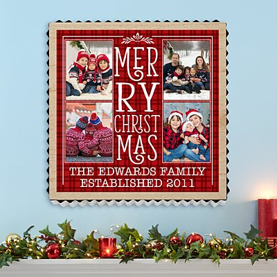 Merry Christmas Photo Metal Edge Wood Wall Art