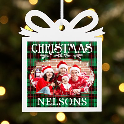 Merry Christmas Photo Present Ornament