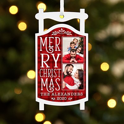 Merry Christmas Photo Sled Ornament
