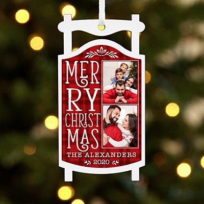 Merry Christmas Photo Sled Ornament