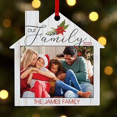 Our Family Photo House  Ornament