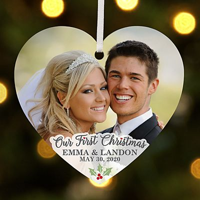 Our First Christmas Photo Heart Ornament