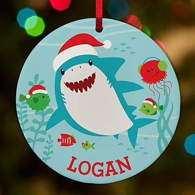 Santa Shark Round Ornament