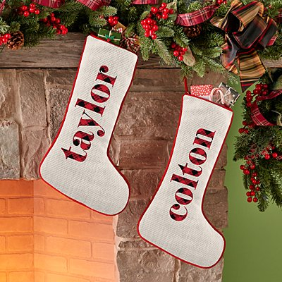 Simply Plaid Name Stocking