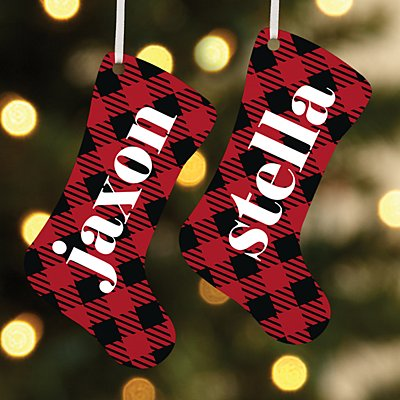Simply Plaid Name Stocking Ornament