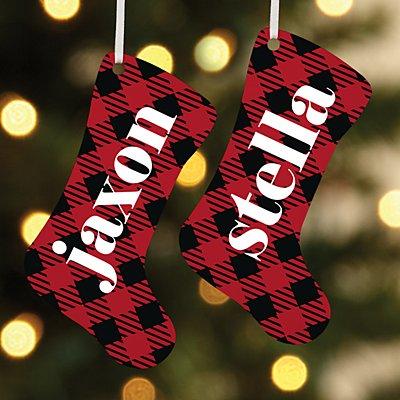Simply Plaid Name Stocking Ornament