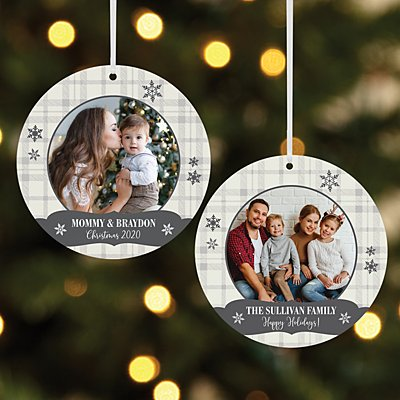Snowflake Wishes Photo Round Ornament