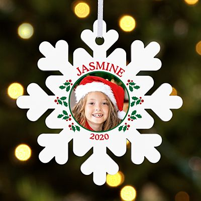 Holly Jolly Photo Snowflake Ornament
