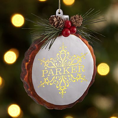 Sparkling Snowflake Rustic Pine Lighted  Ornament