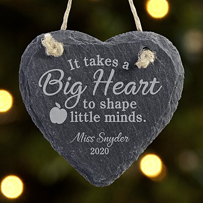 Teachers Shape Minds Heart Slate Ornament