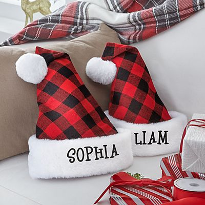 Buffalo Plaid Santa Hat