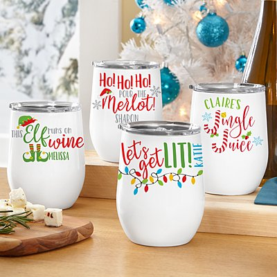 Colorful Christmas Insulated Wine Tumbler