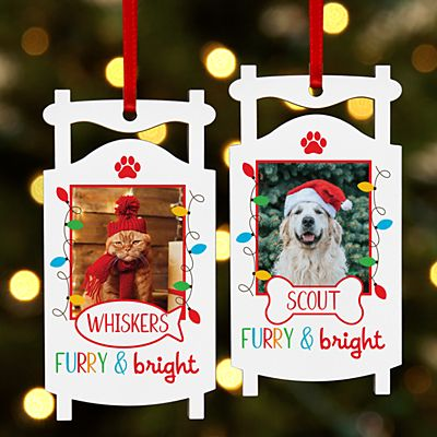 Furry & Bright Pet Photo Sled Ornament