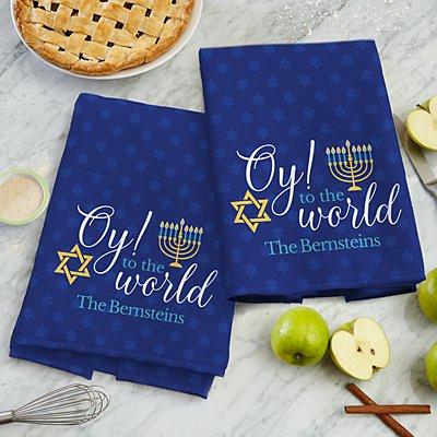 Oy to the World Hanukkah Kitchen Towel