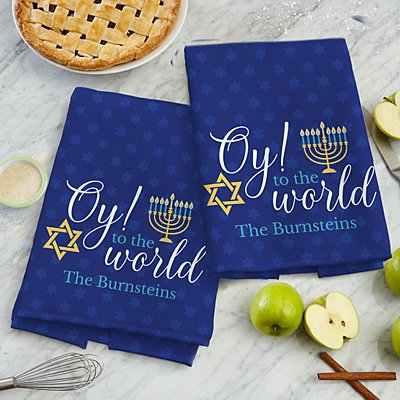 Oy to the World Hanukkah Kitchen Towel