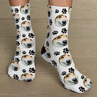Pet Paw Print Photo Socks