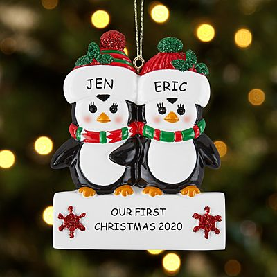 Playful Penguin Couple Ornament