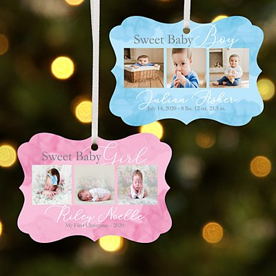 Sweet Baby Photo Scroll Ornament